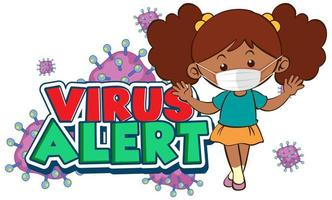 Coronavirus poster design with word virus alert and girl wearing mask vector