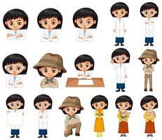 Conjunto de niña en diferentes poses sobre fondo blanco. vector