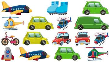 Set of many types of transportations on white background vector
