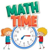 Sticker design for math time with kids and big clock