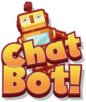 Font design for word chat bot with cute robot toy vector
