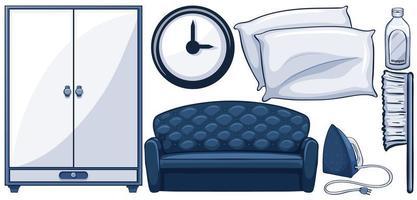 conjunto de móveis na cor azul