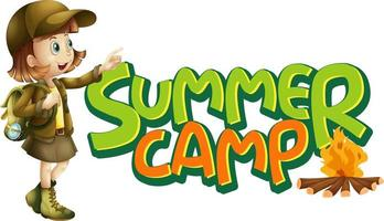 Font design for word summer camp with girl and campfire