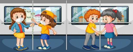 tema de coronavirus con personas en el metro tocando cosas con las manos sucias vector
