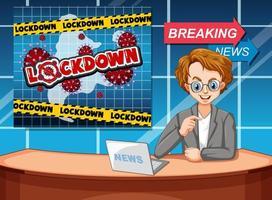 Coronavirus poster design with newsreporter in studio vector