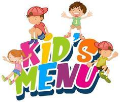 grupo de niños con cartel de menú para niños