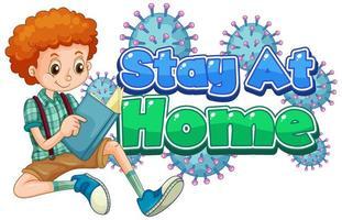 design de cartaz de coronavírus para ficar em casa com o livro de leitura do menino vetor