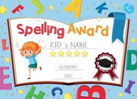 modelo de certificado para prêmio de ortografia com alfabetos em segundo plano vetor