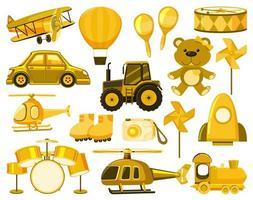 gran conjunto de diferentes objetos en amarillo vector