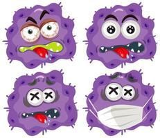 células de virus púrpura con expresiones faciales