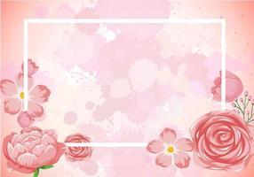 diseño de plantilla de marco con flores rosas