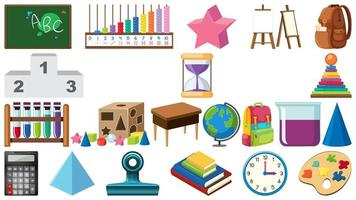 Big set of school items on white background