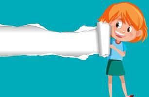 achtergrond sjabloonontwerp met gelukkig meisje op blauw papier