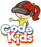 Font design for word code kids with girl wearing VR mask