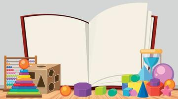 Blank book template with many toys background
