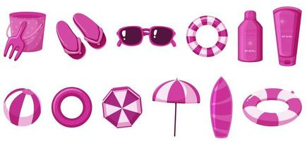 Isolated summer items in pink color
