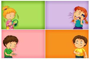 Plain backgrounds with happy boys and girls using their phone vector