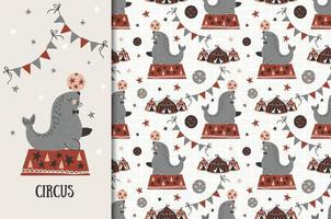 Circus seal design and seamless pattern vector