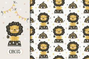 desenho de leão de circo e padrão sem emenda vetor