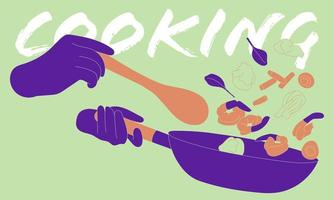 Abstract Person Stir Frying Cooking vector
