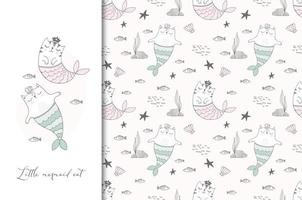 Mermaid cats illustration card and seamless pattern