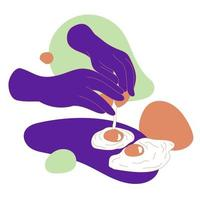 Abstract hands cracking eggs vector