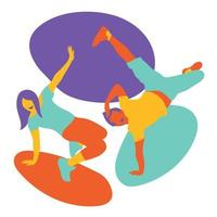 pareja break dance vector