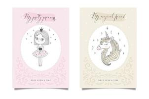 Two fairytale cards with princess and unicorns vector