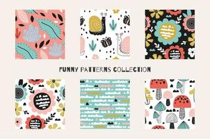 Abstract cartoon spring and summer time seamless patterns vector