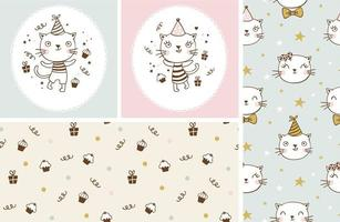 Cute kitty cats birthday characters collection