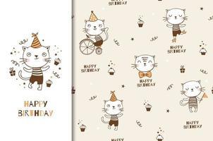 Cute dibujos animados gato cumpleaños diseño y patrón. vector