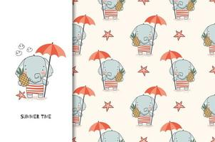Cute elephant baby with umbrella and pineapple pattern vector