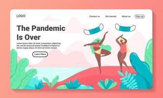 Pandemic is over concept landing page template vector