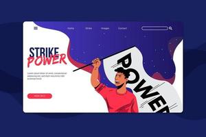 Protest strike landing page vector