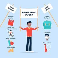 homem protestando com segurança infográfico