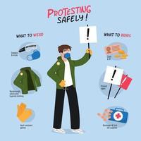 pour protester en toute sécurité infographie avec fond bleu vecteur