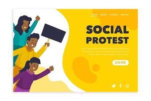 greve de protesto com a página de destino amarela e branca vetor
