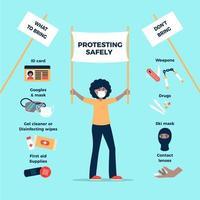 femme protestant en toute sécurité infographique vecteur