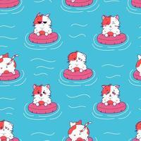 Vector cartoon seamless pattern of cute cat