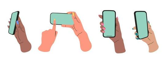 Conjunto de manos planas de niña que sostienen teléfonos inteligentes