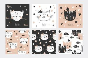 Cat faces cards and seamless background collection vector