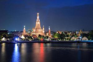 Wat Arun Buddhist religious places in twilight time photo
