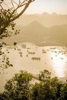 Sunset over Halong bay and Catba photo