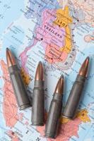 balas en el mapa de Tailandia, Vietnam y Laos