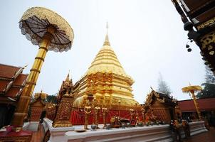 Golden pagoda wat Phra That Doi Suthep Thailand photo