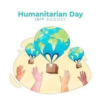 affiche de la journée humanitaire mondiale dessinée à la main