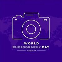 Cartel de celebración del día mundial de la fotografía con cámara de contorno vector