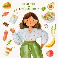 Choosing between healthy or unhealthy food watercolor concept vector
