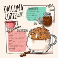 Dalgona coffee recipe poster vector