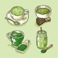coleção de chá matcha mão desenhada vetor
